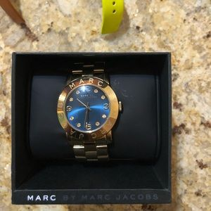 Marc Jacobs gold watch with blue face